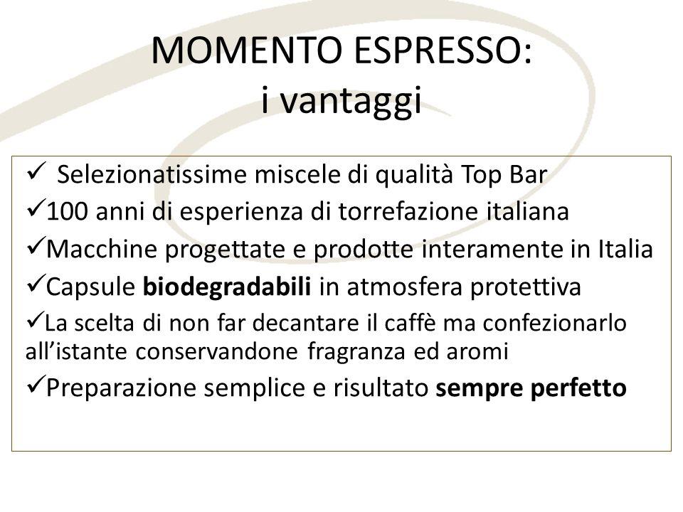 MOMENTO ESPRESSO: i vantaggi Selezionatissime miscele di qualità Top Bar 100 anni di esperienza di torrefazione italiana Macchine progettate e prodott