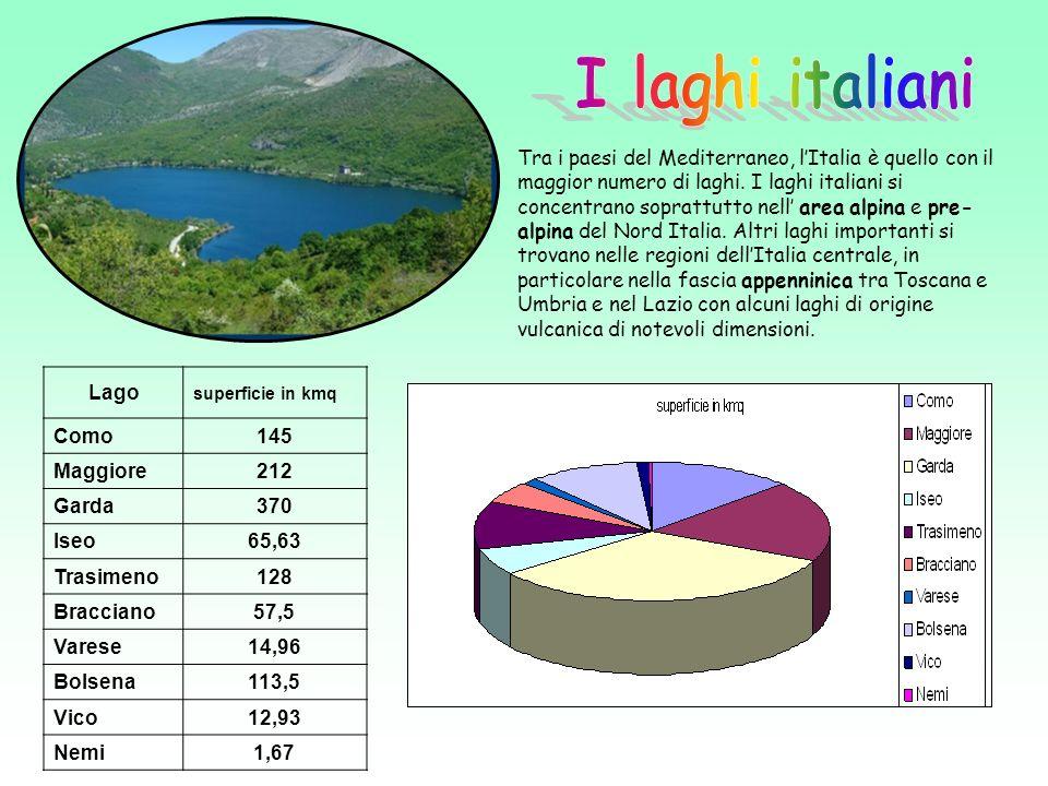 Lago superficie in kmq Como145 Maggiore212 Garda370 Iseo65,63 Trasimeno128 Bracciano57,5 Varese14,96 Bolsena113,5 Vico12,93 Nemi1,67 Tra i paesi del Mediterraneo, lItalia è quello con il maggior numero di laghi.