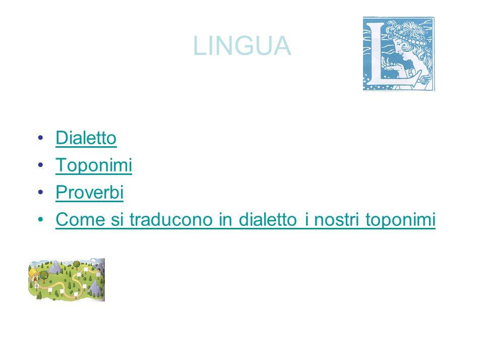 LINGUA Dialetto Toponimi Proverbi Come si traducono in dialetto i nostri toponimi
