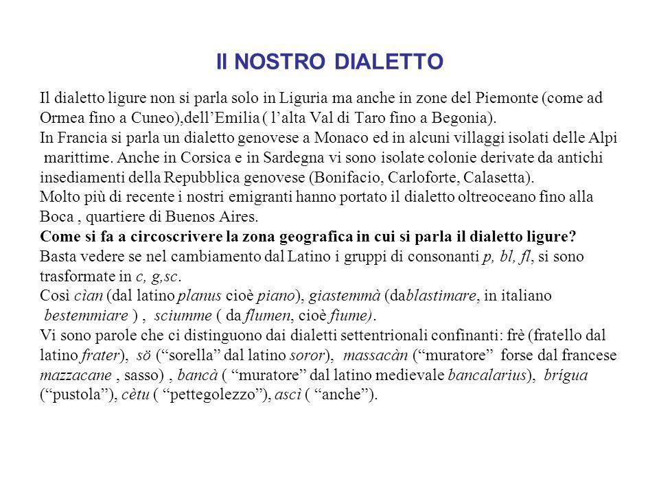 Il NOSTRO DIALETTO Il dialetto ligure non si parla solo in Liguria ma anche in zone del Piemonte (come ad Ormea fino a Cuneo),dellEmilia ( lalta Val di Taro fino a Begonia).