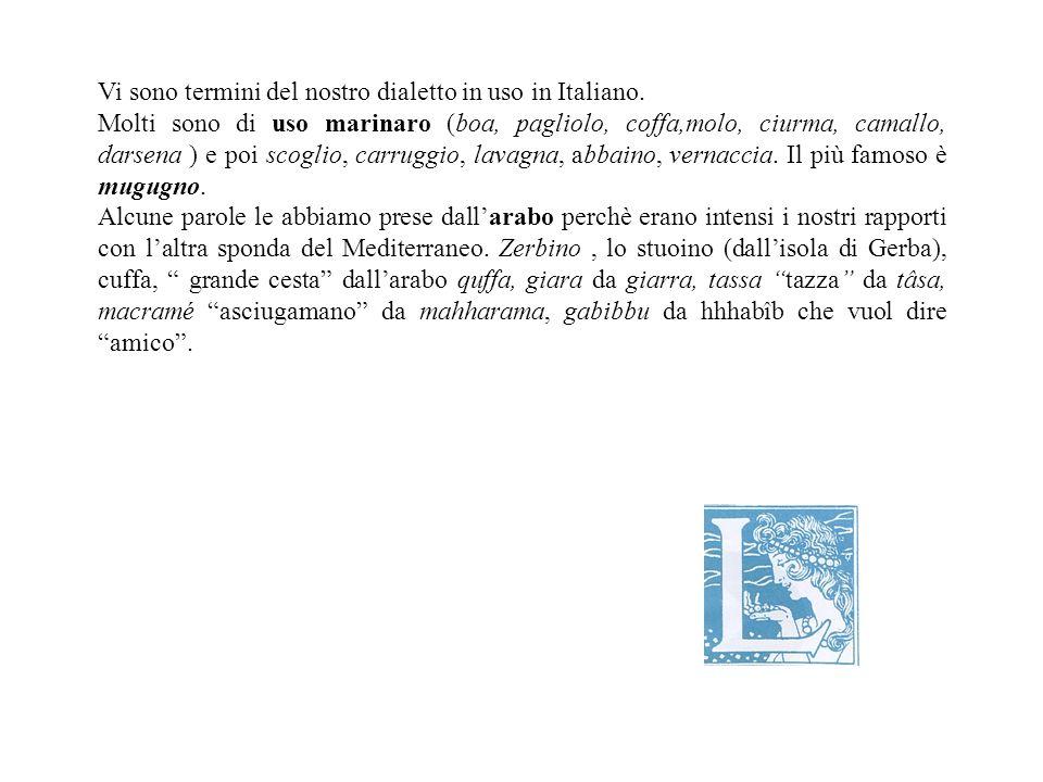 Vi sono termini del nostro dialetto in uso in Italiano.