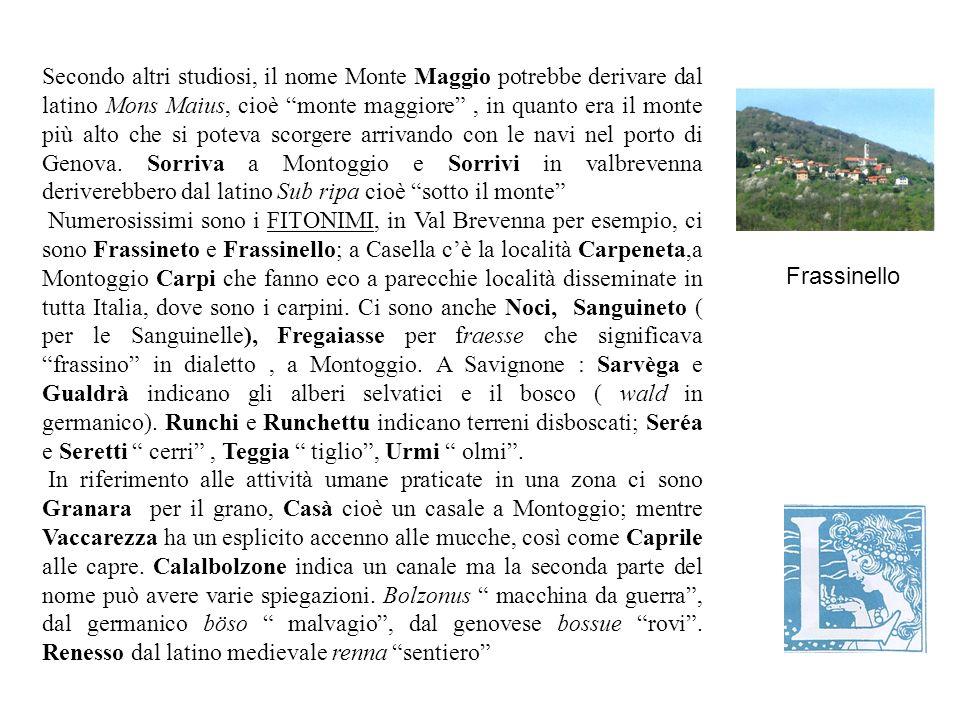 Secondo altri studiosi, il nome Monte Maggio potrebbe derivare dal latino Mons Maius, cioè monte maggiore, in quanto era il monte più alto che si poteva scorgere arrivando con le navi nel porto di Genova.