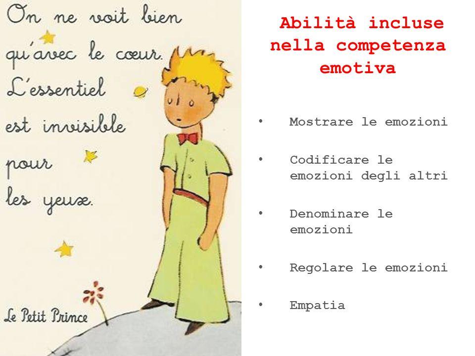 Abilità incluse nella competenza emotiva Mostrare le emozioni Codificare le emozioni degli altri Denominare le emozioni Regolare le emozioni Empatia