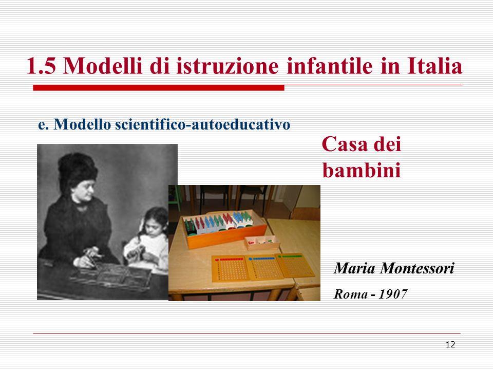 12 1.5 Modelli di istruzione infantile in Italia e. Modello scientifico-autoeducativo Casa dei bambini Maria Montessori Roma - 1907