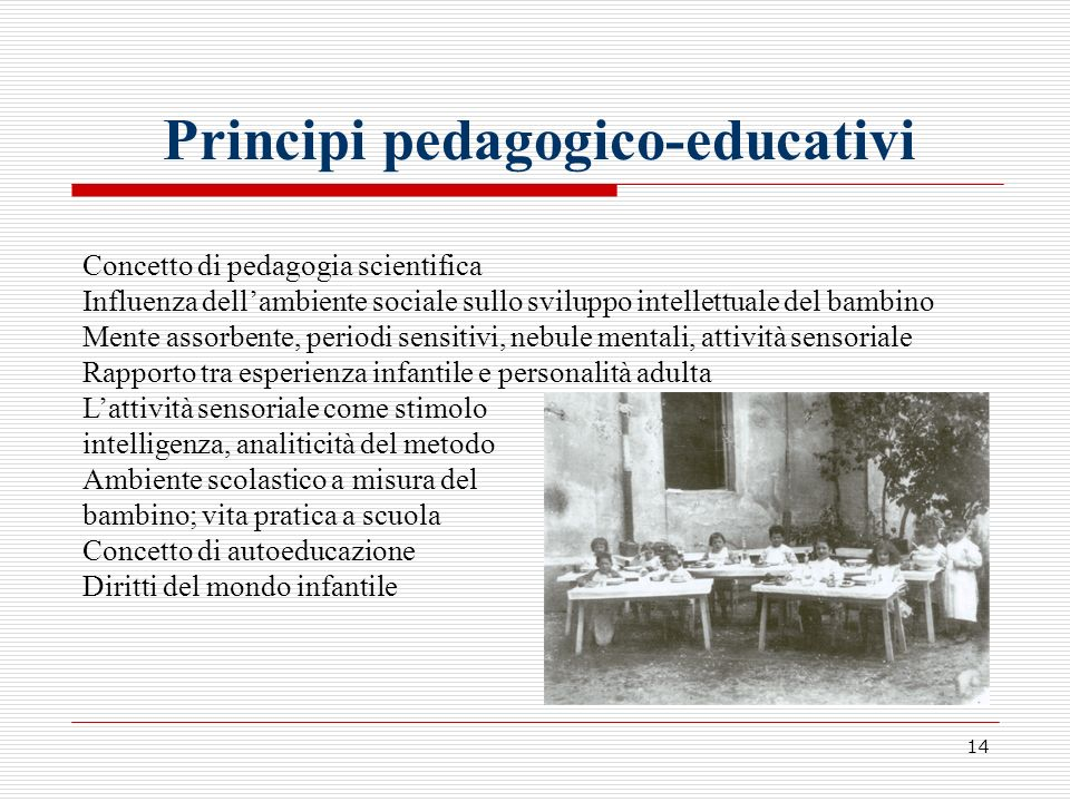 14 Principi pedagogico-educativi Concetto di pedagogia scientifica Influenza dellambiente sociale sullo sviluppo intellettuale del bambino Mente assor