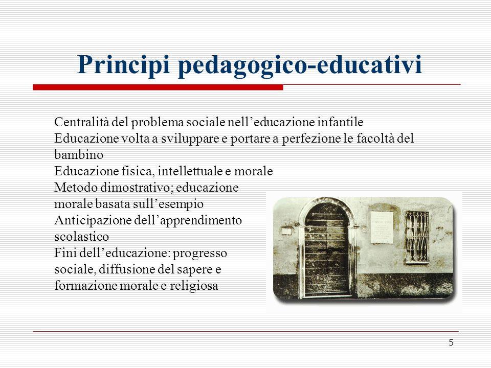 5 Principi pedagogico-educativi Centralità del problema sociale nelleducazione infantile Educazione volta a sviluppare e portare a perfezione le facol