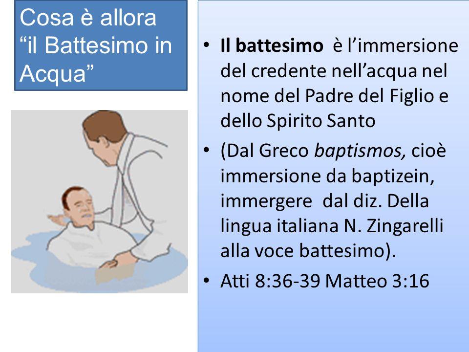 Il battesimo è limmersione del credente nellacqua nel nome del Padre del Figlio e dello Spirito Santo (Dal Greco baptismos, cioè immersione da baptizein, immergere dal diz.