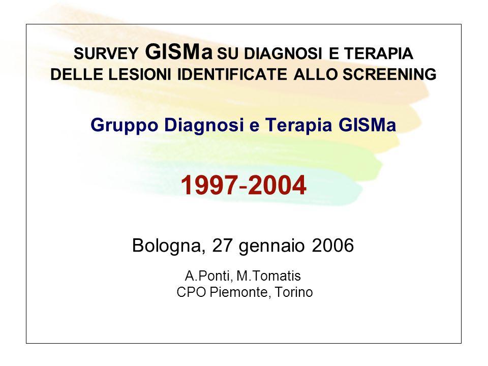 SURVEY GISMa SU DIAGNOSI E TERAPIA DELLE LESIONI IDENTIFICATE ALLO SCREENING Gruppo Diagnosi e Terapia GISMa 1997-2004 Bologna, 27 gennaio 2006 A.Ponti, M.Tomatis CPO Piemonte, Torino