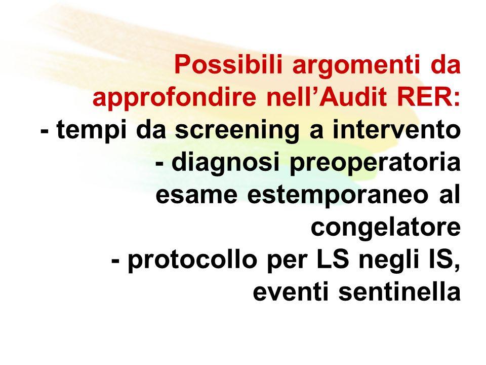 Possibili argomenti da approfondire nellAudit RER: - tempi da screening a intervento - diagnosi preoperatoria esame estemporaneo al congelatore - protocollo per LS negli IS, eventi sentinella
