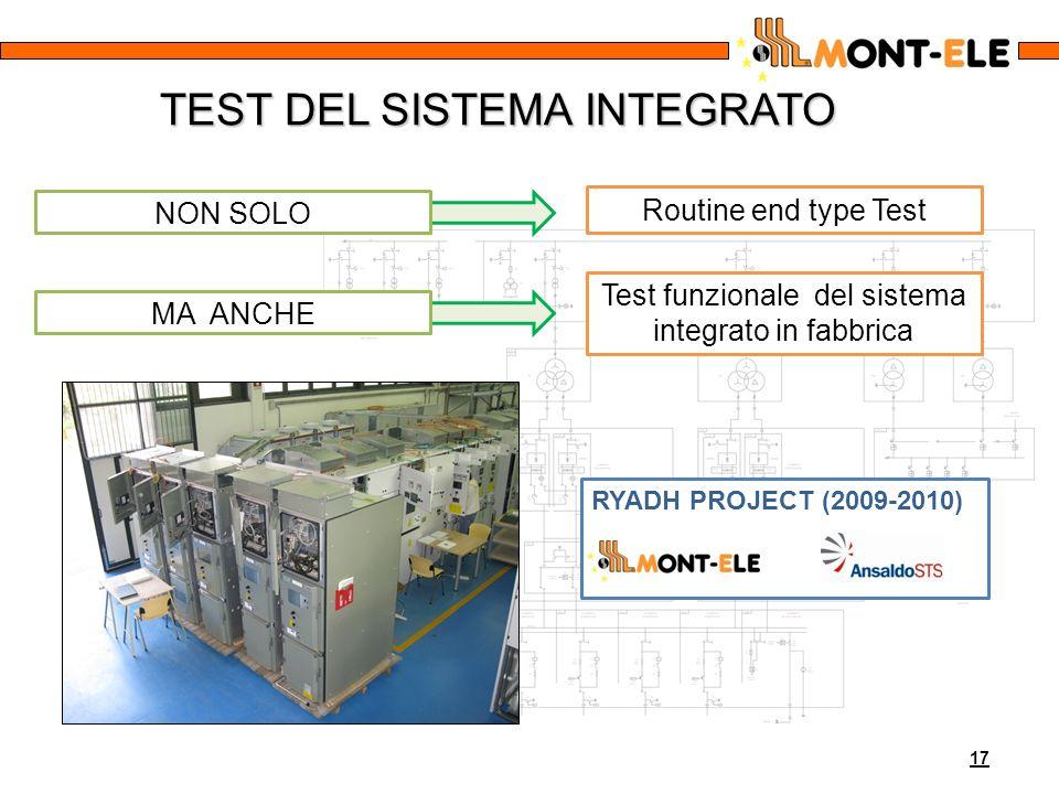 17 TEST DEL SISTEMA INTEGRATO NON SOLO Routine end type Test Test funzionale del sistema integrato in fabbrica MA ANCHE RYADH PROJECT (2009-2010)