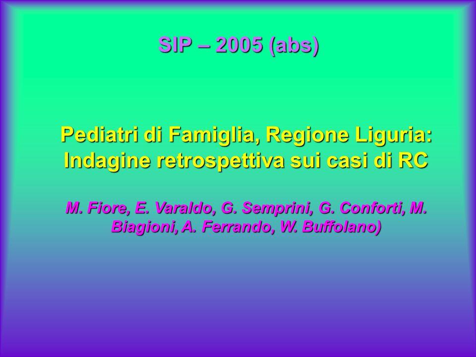 SIP – 2005 (abs) Pediatri di Famiglia, Regione Liguria: Indagine retrospettiva sui casi di RC M. Fiore, E. Varaldo, G. Semprini, G. Conforti, M. Biagi