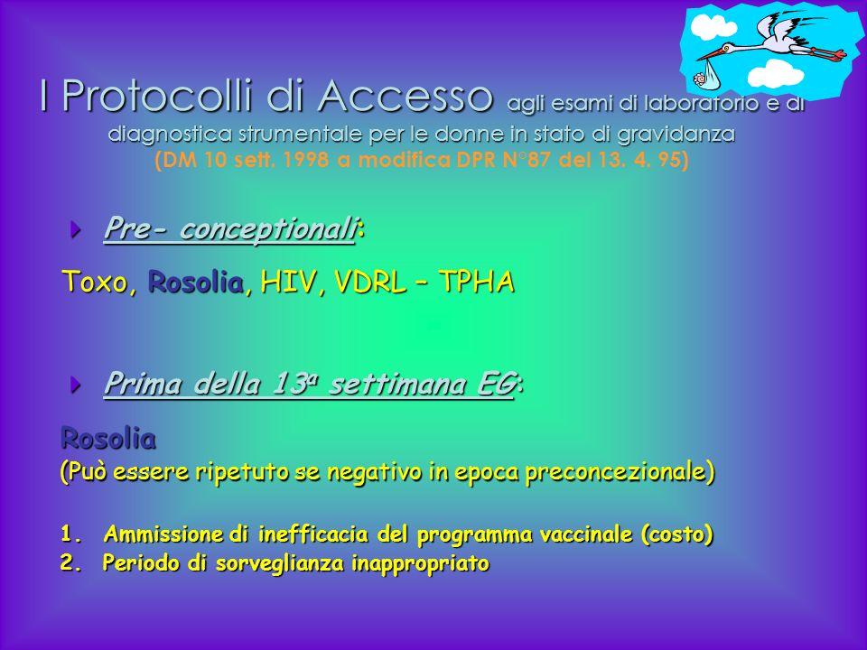 I Protocolli di Accesso agli esami di laboratorio e di diagnostica strumentale per le donne in stato di gravidanza (DM 10 sett. 1998 a modifica DPR N°