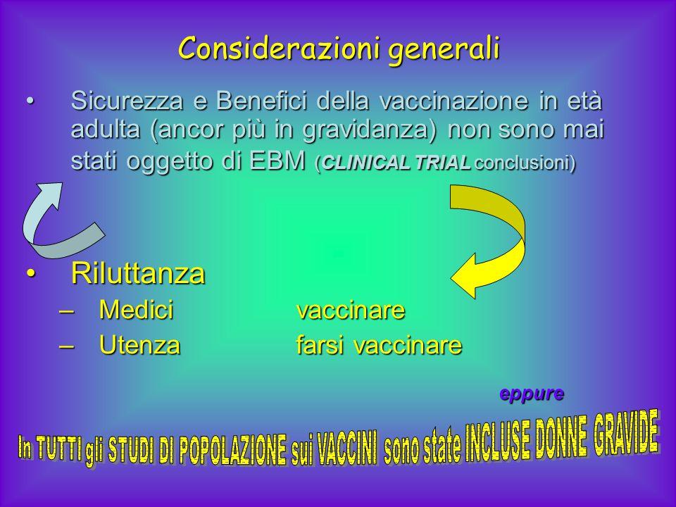Considerazioni generali Sicurezza e Benefici della vaccinazione in età adulta (ancor più in gravidanza) non sono mai stati oggetto di EBM (CLINICAL TR