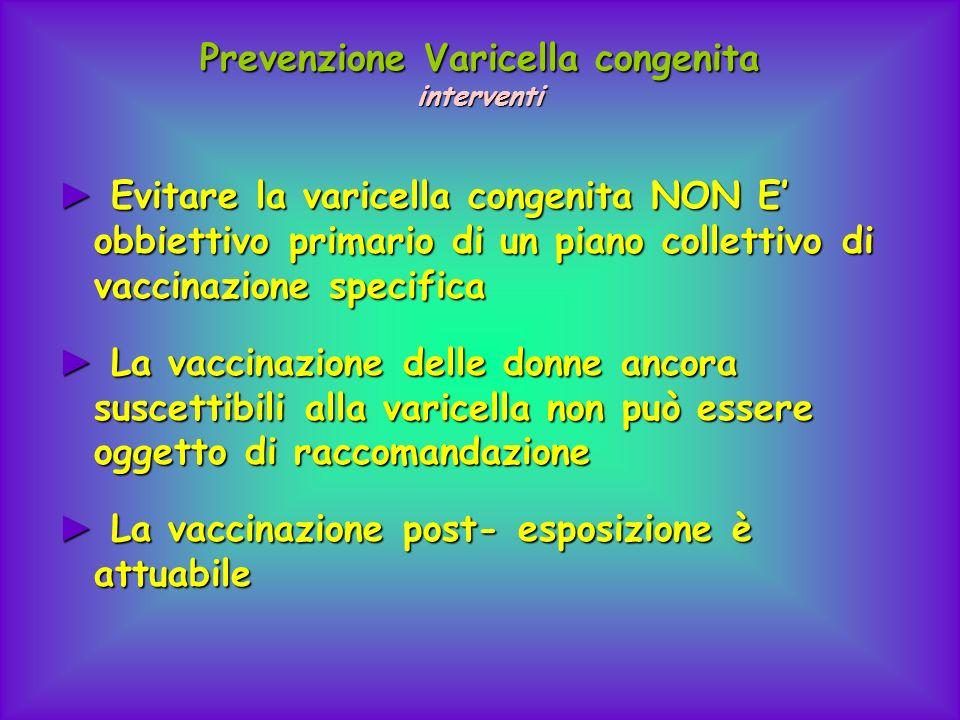Prevenzione Varicella congenita interventi Evitare la varicella congenita NON E obbiettivo primario di un piano collettivo di vaccinazione specifica E
