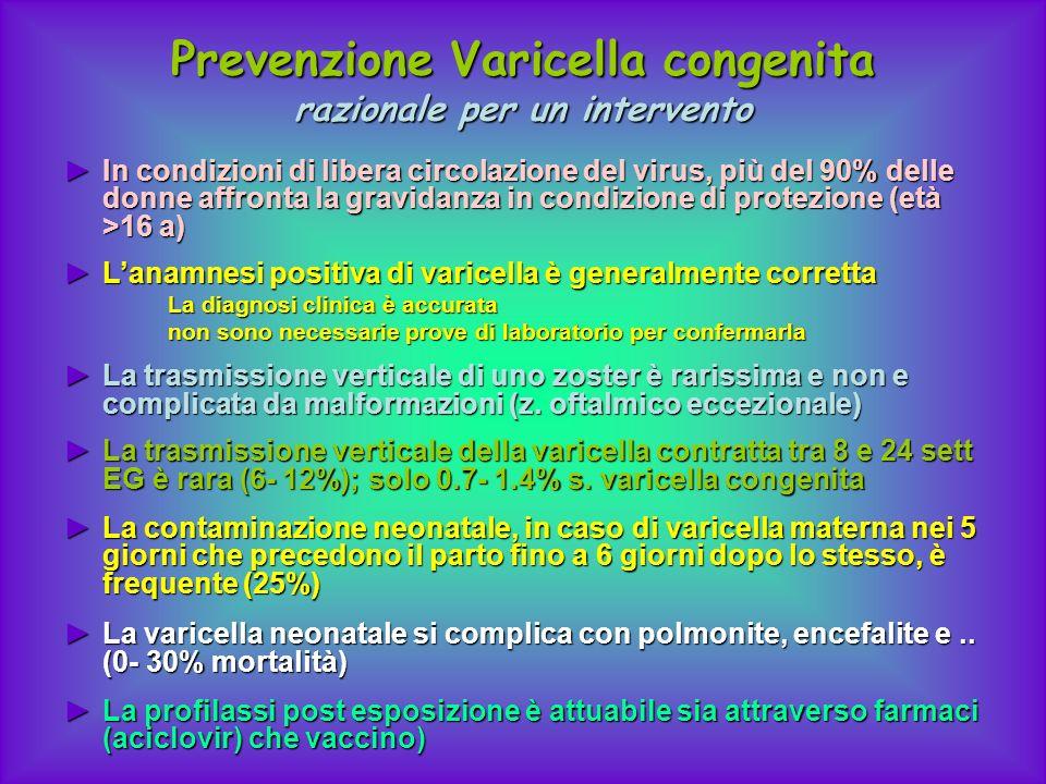 Prevenzione Varicella congenita razionale per un intervento In condizioni di libera circolazione del virus, più del 90% delle donne affronta la gravid