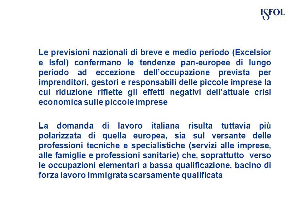 Le previsioni nazionali di breve e medio periodo (Excelsior e Isfol) confermano le tendenze pan-europee di lungo periodo ad eccezione delloccupazione