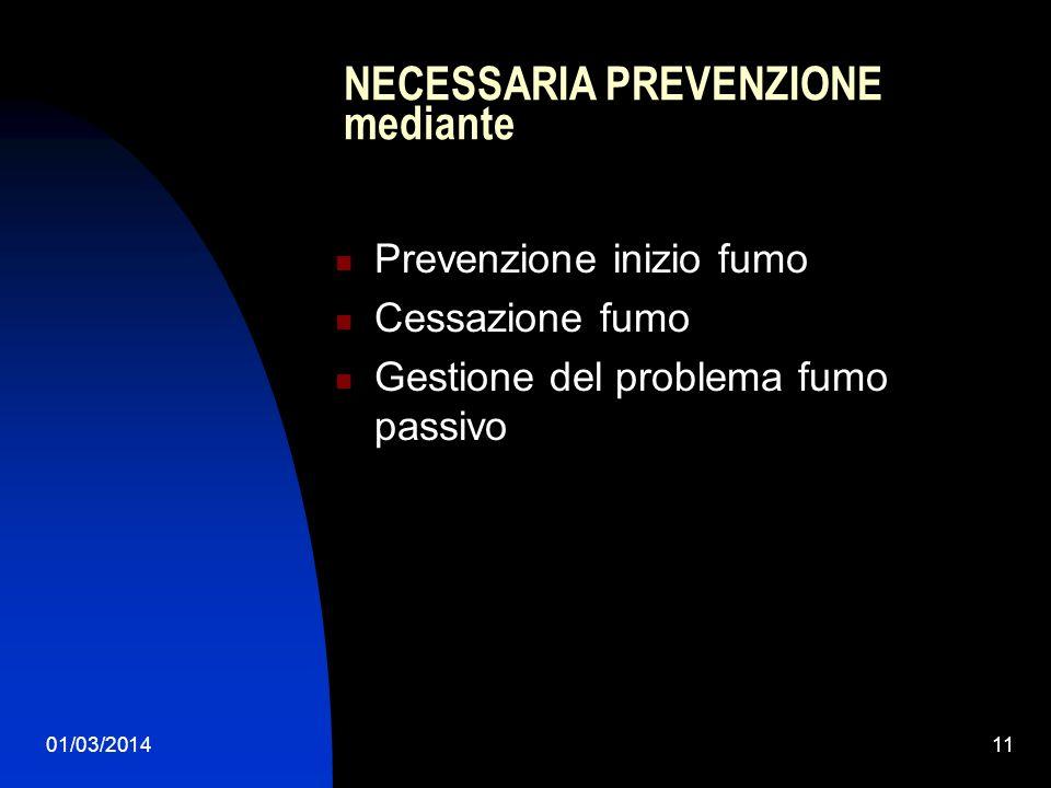 01/03/201411 NECESSARIA PREVENZIONE mediante Prevenzione inizio fumo Cessazione fumo Gestione del problema fumo passivo