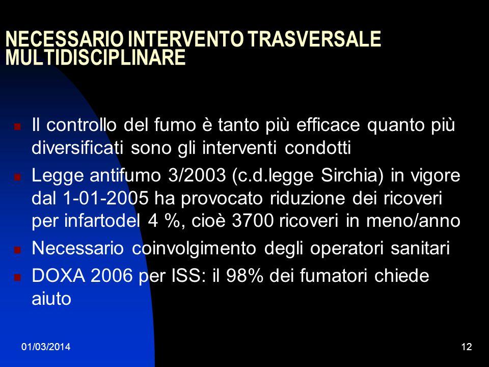 01/03/201412 NECESSARIO INTERVENTO TRASVERSALE MULTIDISCIPLINARE Il controllo del fumo è tanto più efficace quanto più diversificati sono gli interven