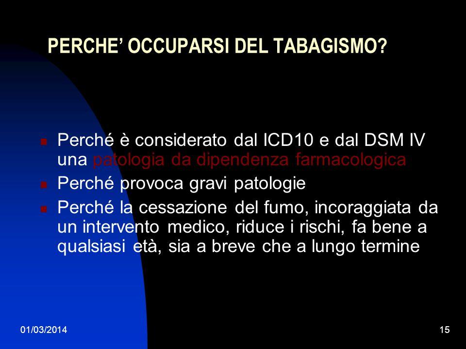 01/03/201415 PERCHE OCCUPARSI DEL TABAGISMO? Perché è considerato dal ICD10 e dal DSM IV una patologia da dipendenza farmacologica Perché provoca grav