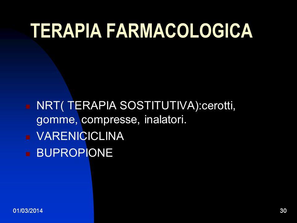 01/03/201430 TERAPIA FARMACOLOGICA NRT( TERAPIA SOSTITUTIVA):cerotti, gomme, compresse, inalatori. VARENICICLINA BUPROPIONE
