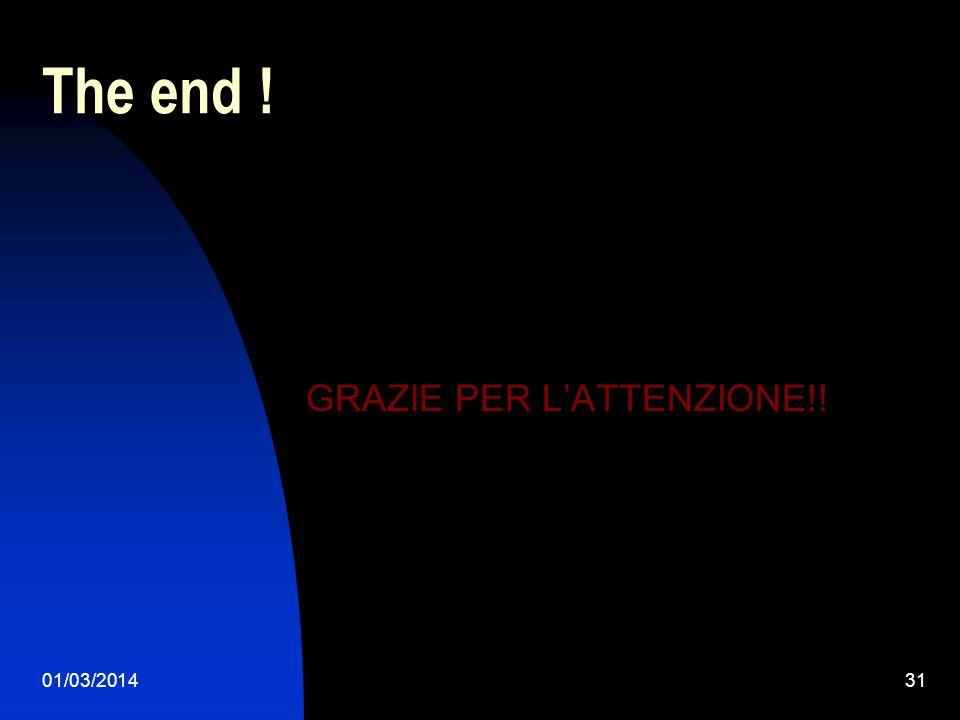 01/03/201431 The end ! GRAZIE PER LATTENZIONE!!