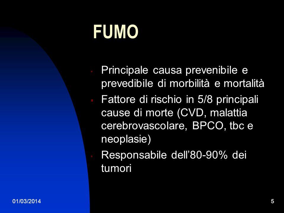 01/03/20145 FUMO Principale causa prevenibile e prevedibile di morbilità e mortalità Fattore di rischio in 5/8 principali cause di morte (CVD, malatti