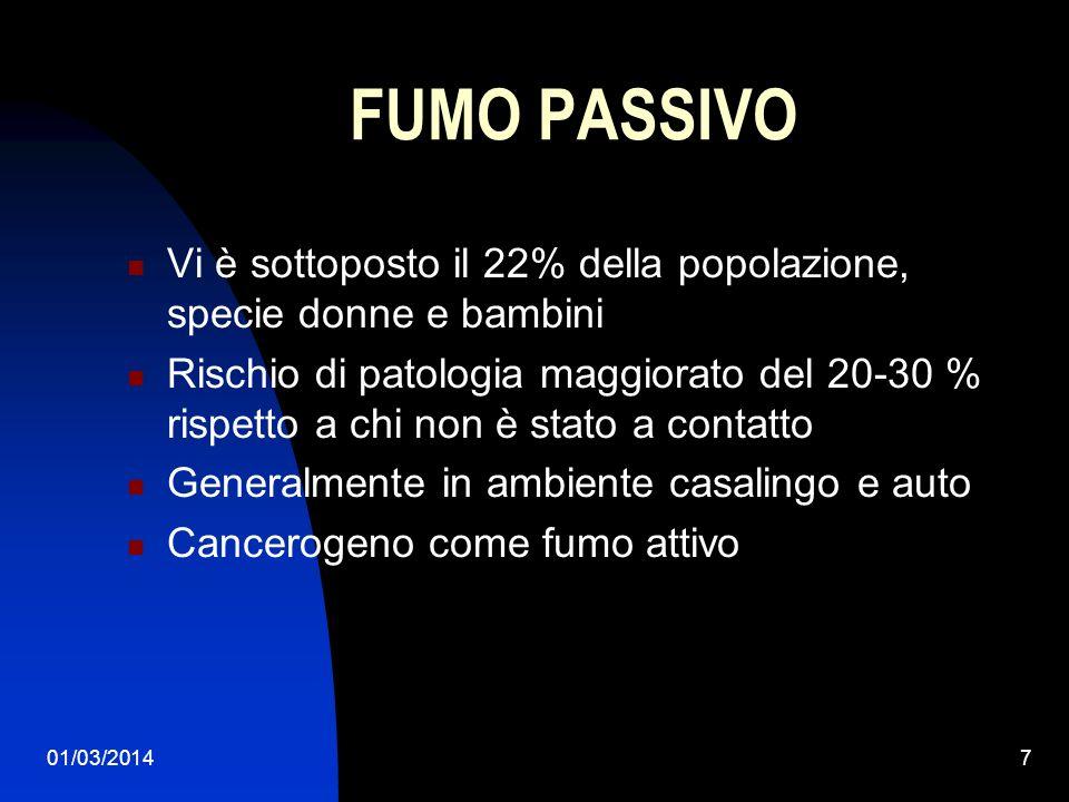 01/03/20147 FUMO PASSIVO Vi è sottoposto il 22% della popolazione, specie donne e bambini Rischio di patologia maggiorato del 20-30 % rispetto a chi n