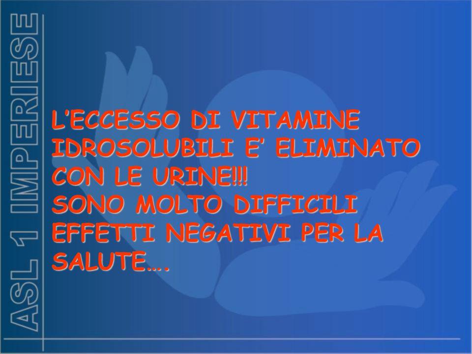 LECCESSO DI VITAMINE IDROSOLUBILI E ELIMINATO CON LE URINE!!! SONO MOLTO DIFFICILI EFFETTI NEGATIVI PER LA SALUTE….