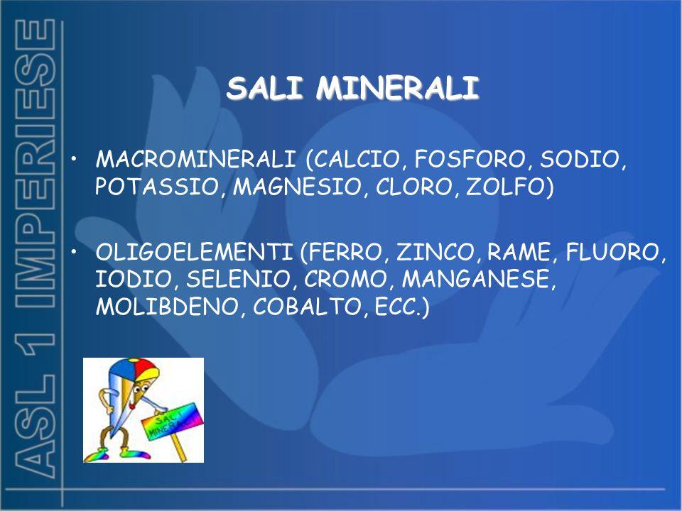 SALI MINERALI MACROMINERALI (CALCIO, FOSFORO, SODIO, POTASSIO, MAGNESIO, CLORO, ZOLFO) OLIGOELEMENTI (FERRO, ZINCO, RAME, FLUORO, IODIO, SELENIO, CROM
