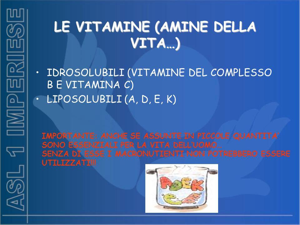LE VITAMINE (AMINE DELLA VITA…) LE VITAMINE (AMINE DELLA VITA…) IDROSOLUBILI (VITAMINE DEL COMPLESSO B E VITAMINA C) LIPOSOLUBILI (A, D, E, K) IMPORTANTE: ANCHE SE ASSUNTE IN PICCOLE QUANTITA SONO ESSENZIALI PER LA VITA DELLUOMO… SENZA DI ESSE I MACRONUTIENTI NON POTREBBERO ESSERE UTILIZZATI!!!