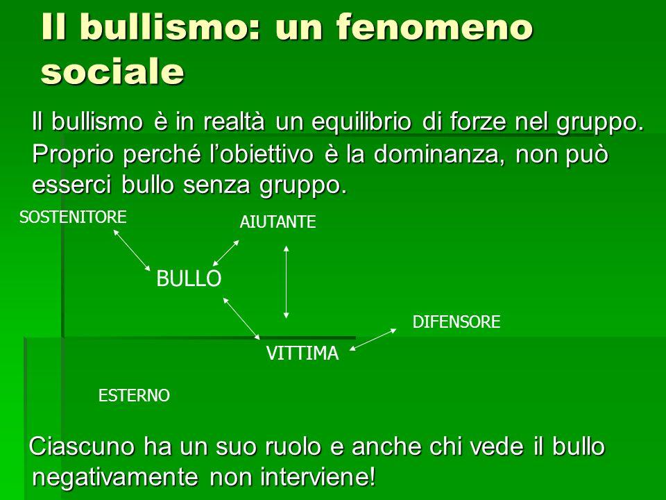 Il bullismo: un fenomeno sociale Il bullismo è in realtà un equilibrio di forze nel gruppo. Proprio perché lobiettivo è la dominanza, non può esserci