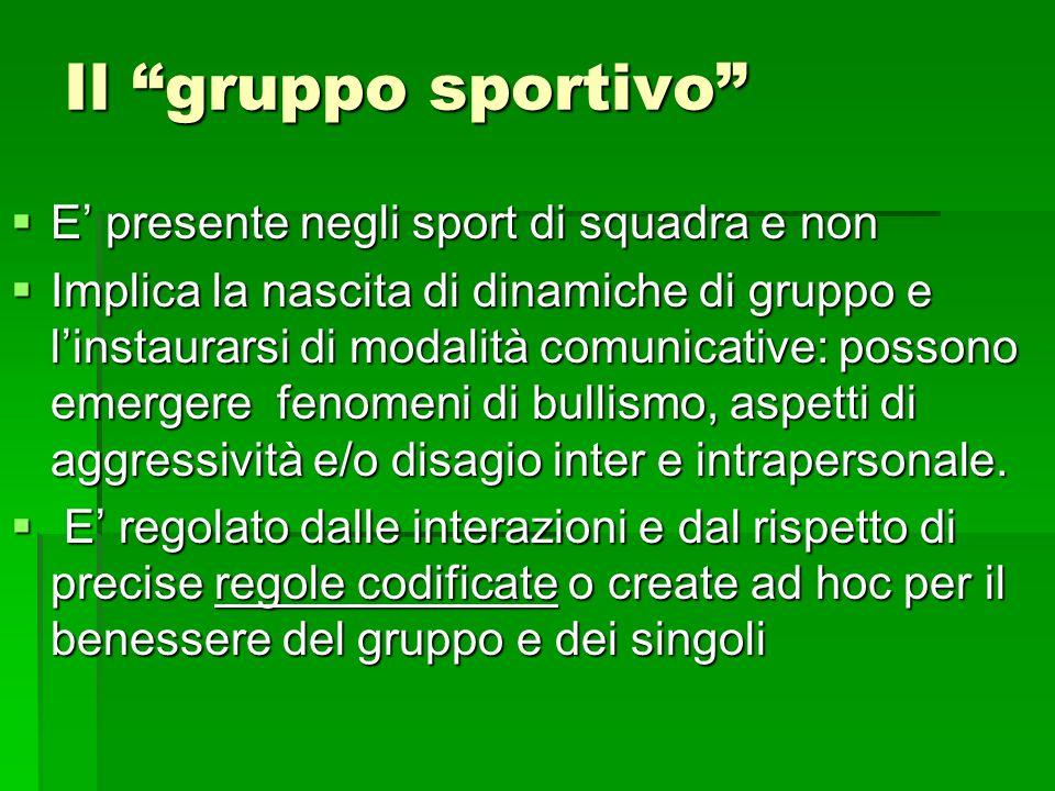 Il gruppo sportivo E presente negli sport di squadra e non E presente negli sport di squadra e non Implica la nascita di dinamiche di gruppo e linstau