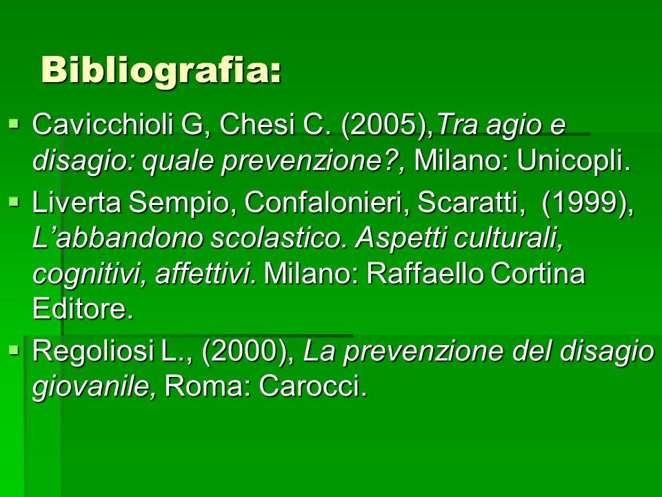 Bibliografia: Cavicchioli G, Chesi C. (2005),Tra agio e disagio: quale prevenzione?, Milano: Unicopli. Cavicchioli G, Chesi C. (2005),Tra agio e disag