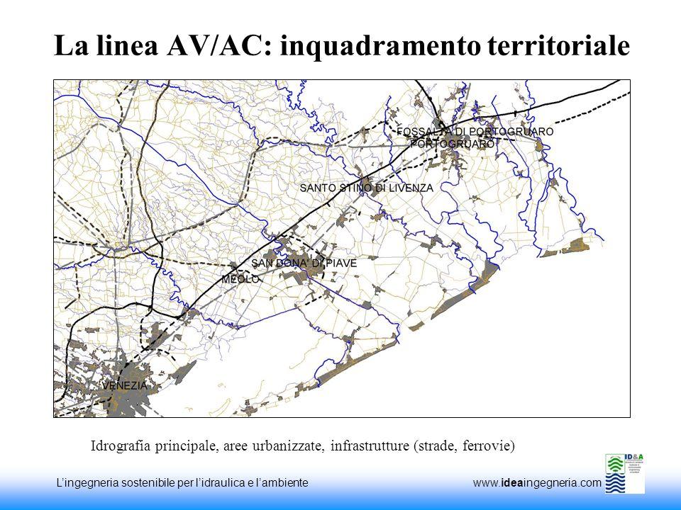Lingegneria sostenibile per lidraulica e lambiente www.ideaingegneria.com La linea AV/AC: inquadramento territoriale Idrografia principale, aree urbanizzate, infrastrutture (strade, ferrovie)