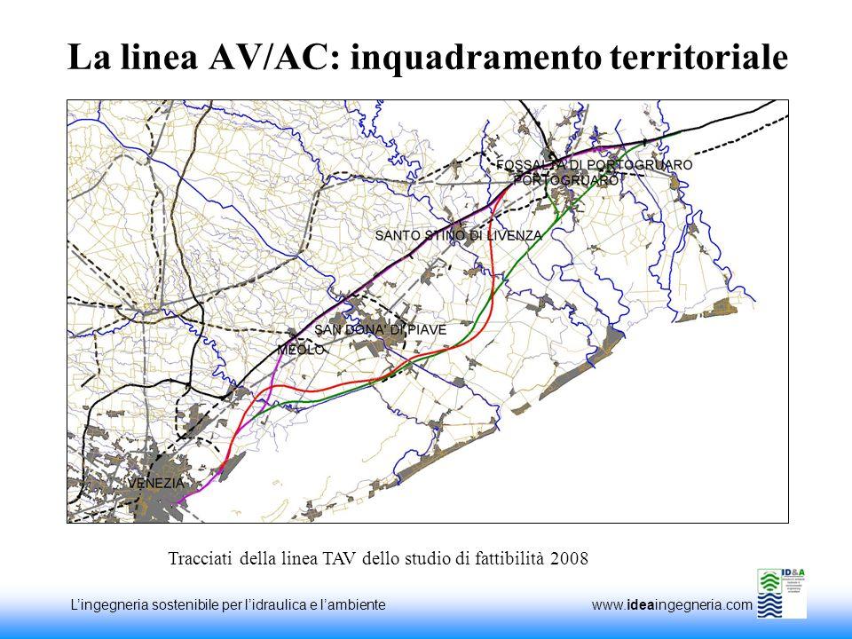 Lingegneria sostenibile per lidraulica e lambiente www.ideaingegneria.com La linea AV/AC: inquadramento territoriale Tracciati della linea TAV dello studio di fattibilità 2008