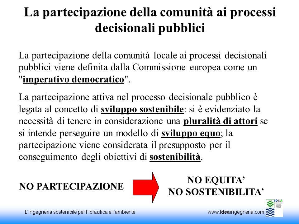 Lingegneria sostenibile per lidraulica e lambiente www.ideaingegneria.com La partecipazione della comunità ai processi decisionali pubblici La parteci