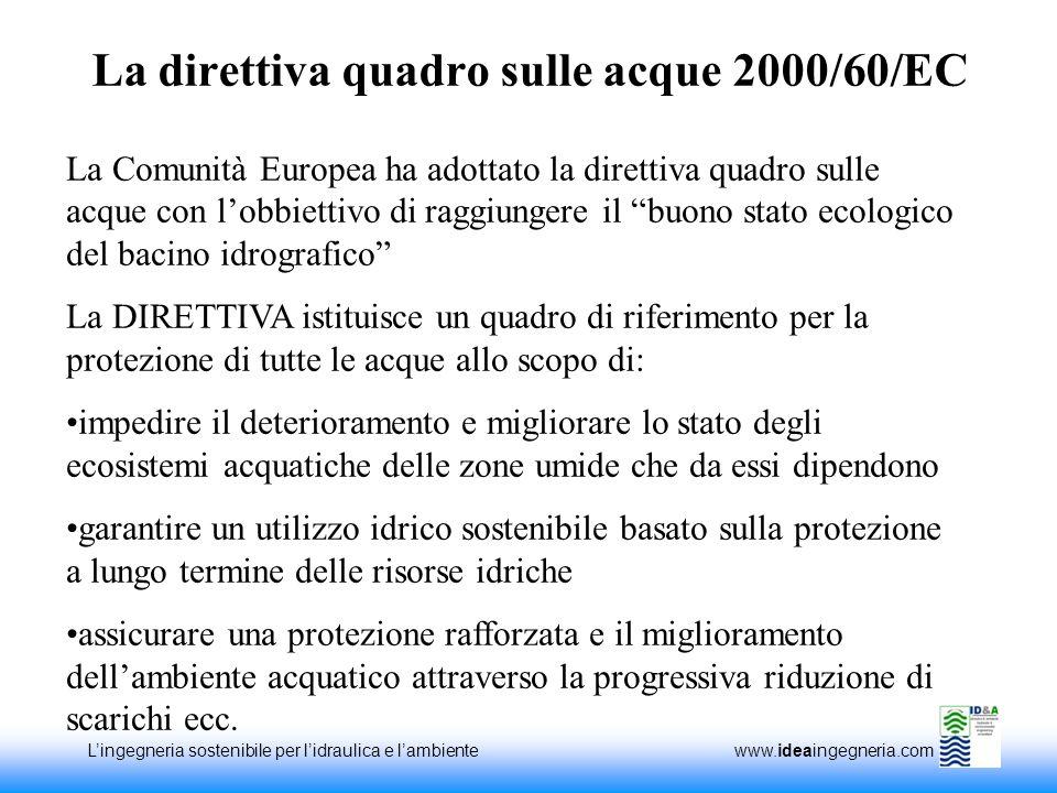 Lingegneria sostenibile per lidraulica e lambiente www.ideaingegneria.com La direttiva quadro sulle acque 2000/60/EC La Comunità Europea ha adottato l