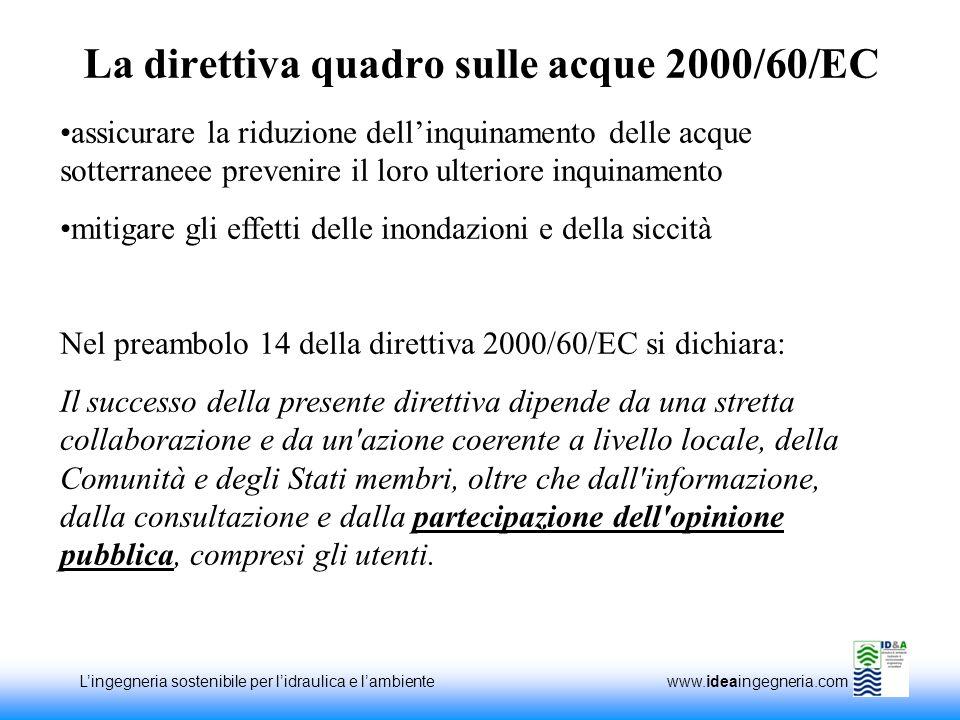 Lingegneria sostenibile per lidraulica e lambiente www.ideaingegneria.com La direttiva quadro sulle acque 2000/60/EC assicurare la riduzione dellinqui
