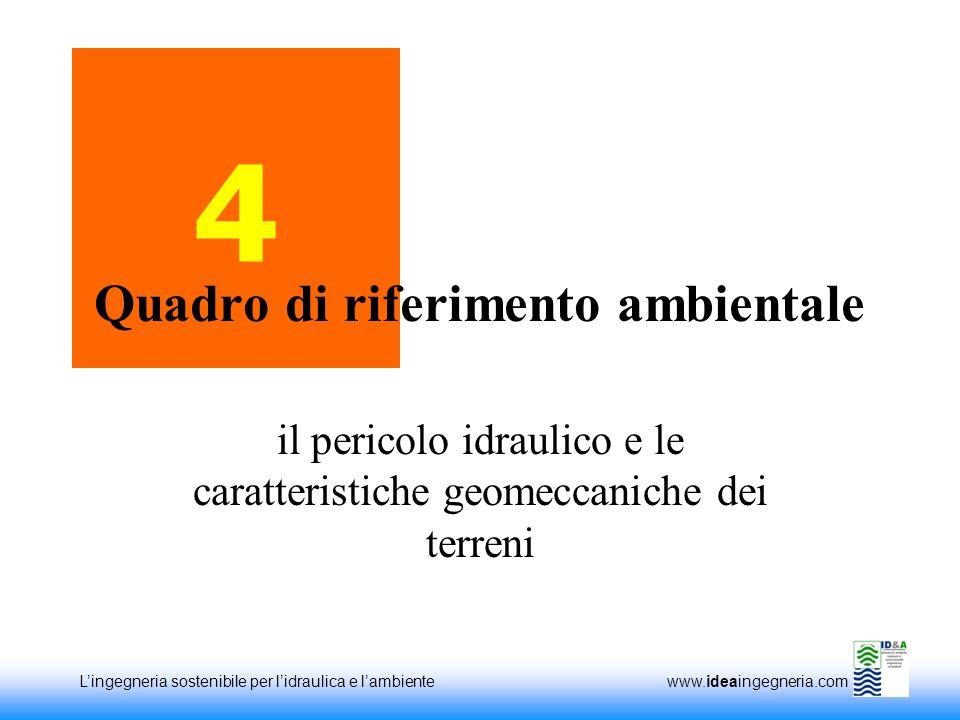 Lingegneria sostenibile per lidraulica e lambiente www.ideaingegneria.com 4 il pericolo idraulico e le caratteristiche geomeccaniche dei terreni Quadro di riferimento ambientale