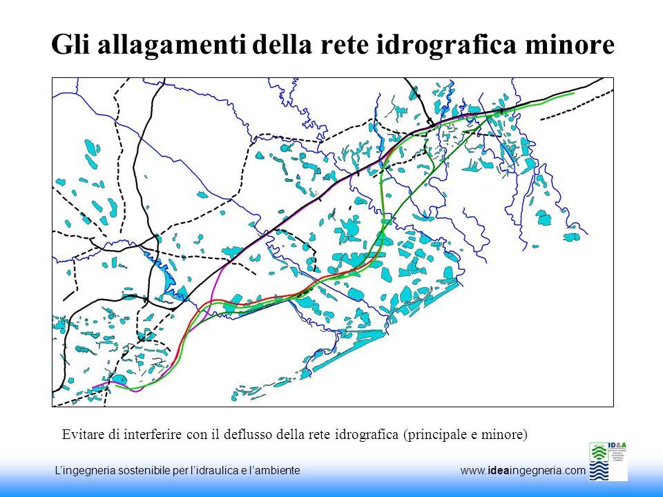Lingegneria sostenibile per lidraulica e lambiente www.ideaingegneria.com Gli allagamenti della rete idrografica minore Evitare di interferire con il deflusso della rete idrografica (principale e minore)