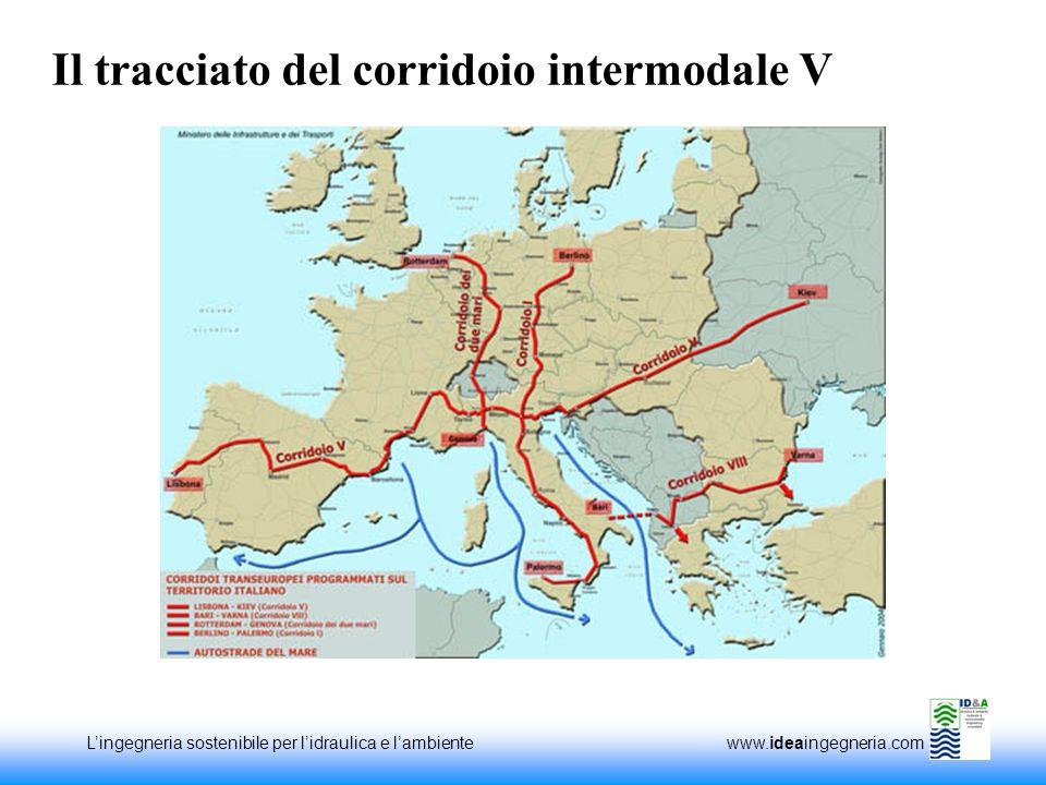 Lingegneria sostenibile per lidraulica e lambiente www.ideaingegneria.com Il tracciato del corridoio intermodale V