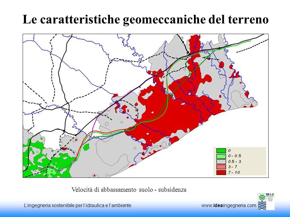 Lingegneria sostenibile per lidraulica e lambiente www.ideaingegneria.com Le caratteristiche geomeccaniche del terreno Velocità di abbassamento suolo - subsidenza