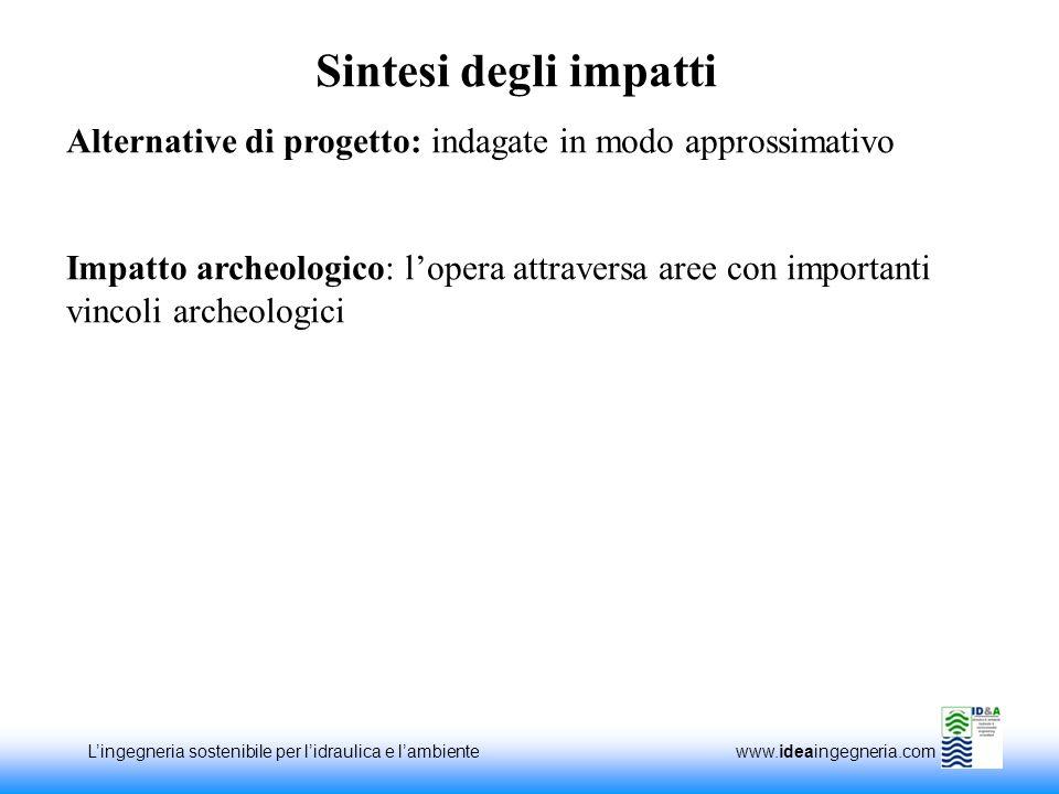 Lingegneria sostenibile per lidraulica e lambiente www.ideaingegneria.com Alternative di progetto: indagate in modo approssimativo Impatto archeologic