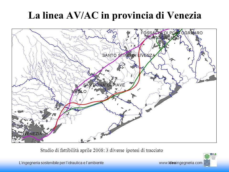 Lingegneria sostenibile per lidraulica e lambiente www.ideaingegneria.com La linea AV/AC in provincia di Venezia Studio di fattibilità aprile 2008: 3 diverse ipotesi di tracciato