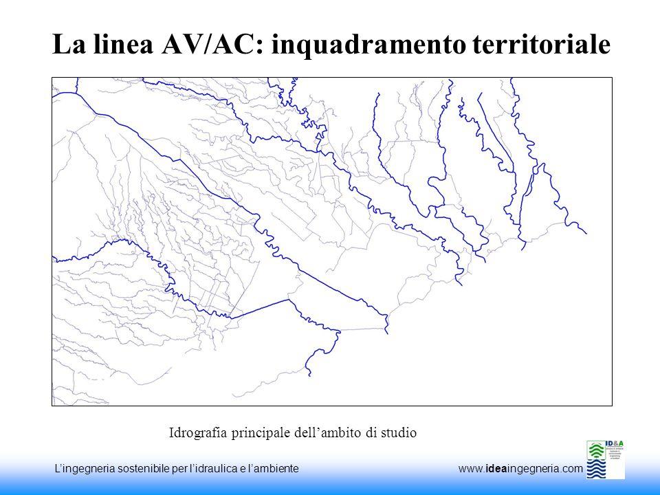 Lingegneria sostenibile per lidraulica e lambiente www.ideaingegneria.com La linea AV/AC: inquadramento territoriale Idrografia principale dellambito