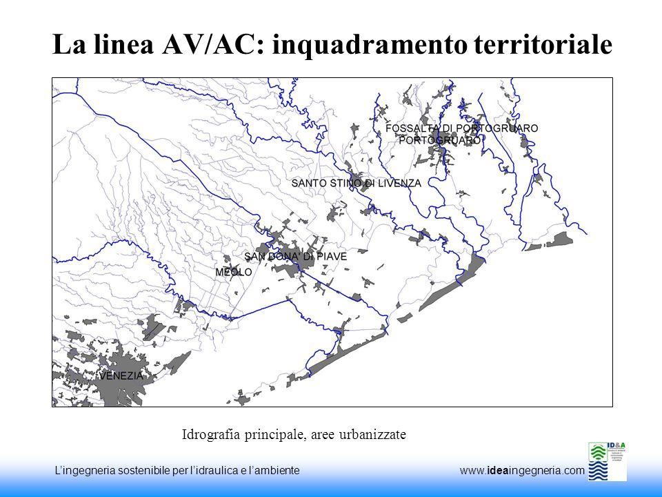 Lingegneria sostenibile per lidraulica e lambiente www.ideaingegneria.com La linea AV/AC: inquadramento territoriale Idrografia principale, aree urbanizzate
