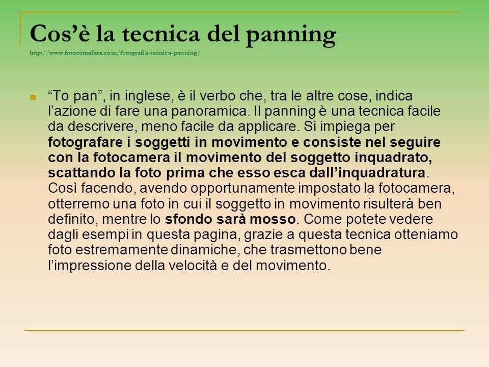 Cosè la tecnica del panning http://www.fotocomefare.com/fotografia-tecnica-panning/ To pan, in inglese, è il verbo che, tra le altre cose, indica lazi