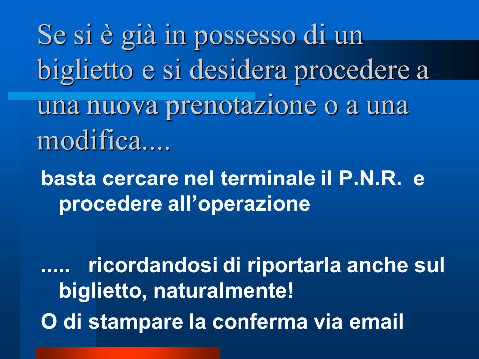 Sul biglietto e nei terminali dei CRS la pratica di prenotazione è archiviata con un PNR P.N.R. = Property Name Record..... cioè un codice alfanumeric