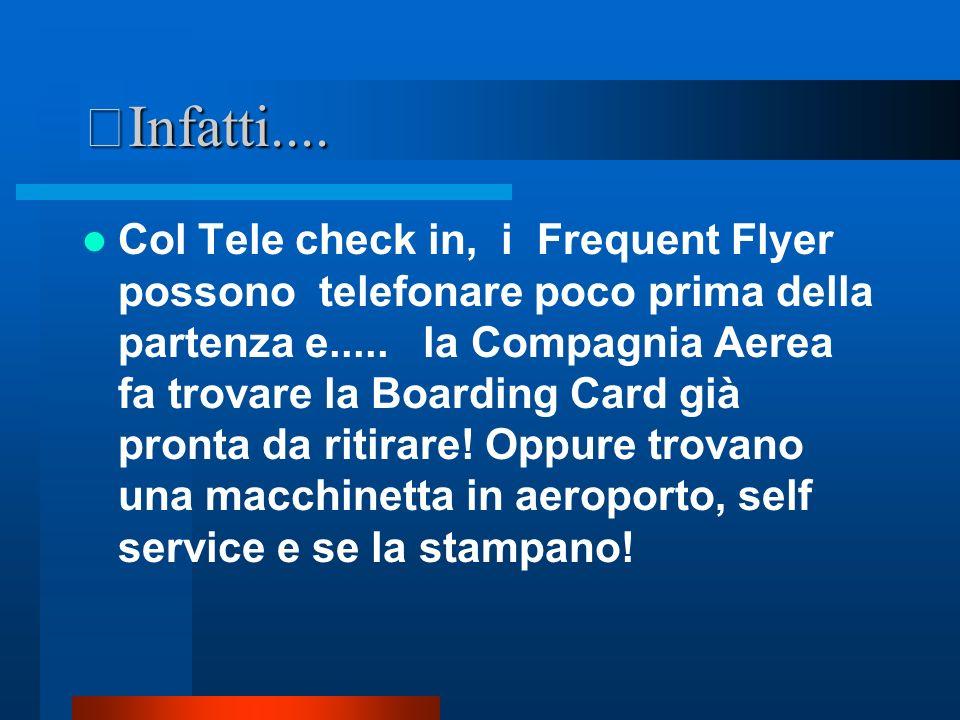 NUOVE REALTA Esistono anche compagnie aeree che offrono il TELE check in! E alcune lo impongono!