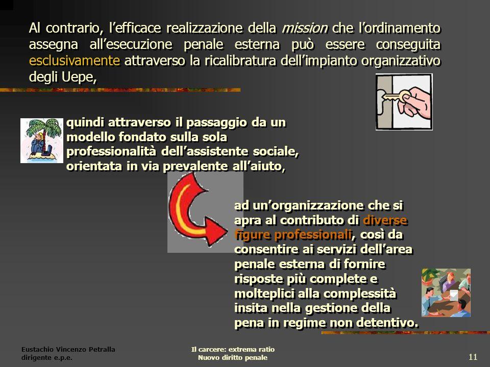 Eustachio Vincenzo Petralla dirigente e.p.e. Il carcere: extrema ratio Nuovo diritto penale 11 ad unorganizzazione che si apra al contributo di divers